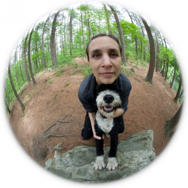 fisheye woman and dog